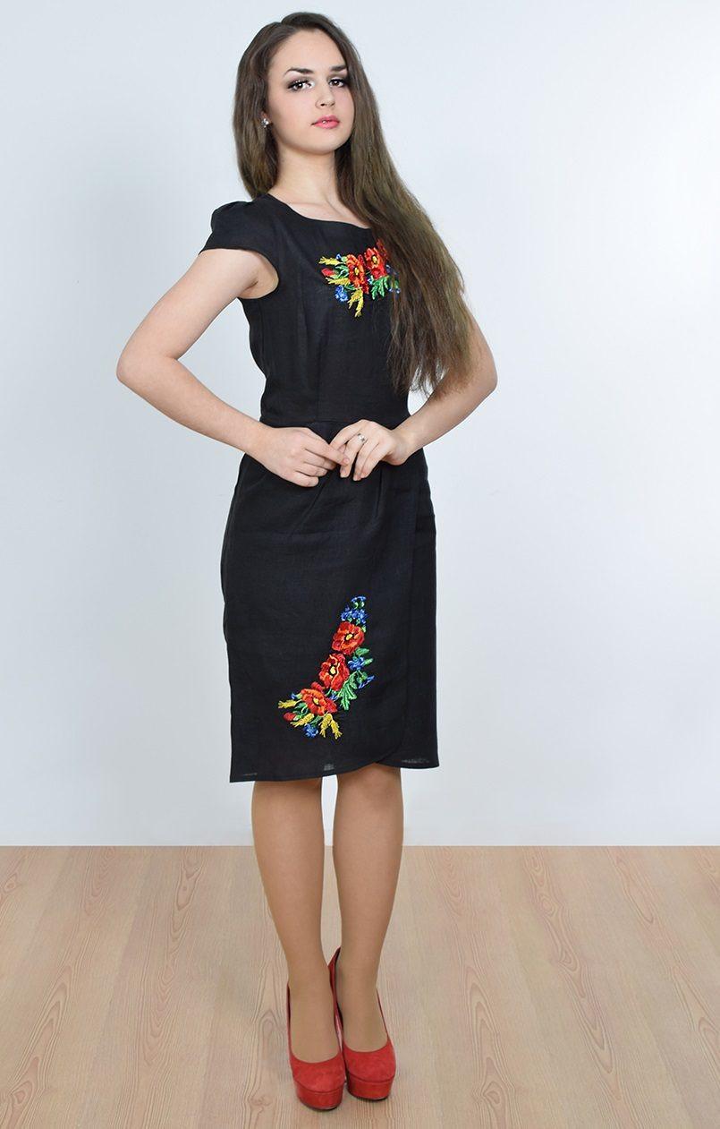 Красивое женское платье-вышиванка с маками  продажа bf5abd31b9554