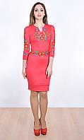 Вышитое платье с длинным рукавом и накладным поясом