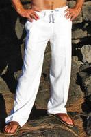 Мужские брюки льняные на резинке, свободный крой