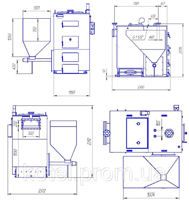 Размеры пеллетного котла Eurotherm WMSP 250 квт