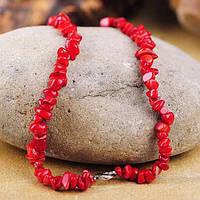 Серебряное женское колье (искусственный коралл)