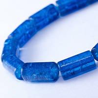 """Бусины """"Битое Стекло"""" Цилиндр, Цвет: Синий A30, Размер: 12х6мм, Отверстие 1.5мм, около 48шт/нить, (УТ0027348)"""