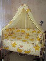 """Навесной задний карман на детскую кроватку """" Мишки на звездах"""" желтый"""