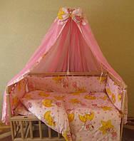 """Навесной задний карман на детскую кроватку """" Мишки на звездах """" розовый"""