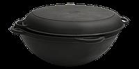 Кастрюля чугунная Вок (WOK) Ситон с крышкой сковородой 8 л. (d=340, V=8 л)