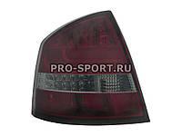 Альтернативная оптика для SKODA OCTAVIA 4D '05-, фонари задние, светодиодные, тонированный красный (тюнинг оптика, цена за комплект)