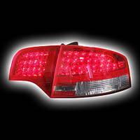 Альтернативная оптика для AUDI A4 `04-`07, T/L, фонари задние, светодиодные, красные, тонированные (тюнинг оптика, цена за комплект)