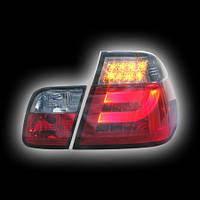 Альтернативная оптика для BMW E46 `98-`01 Седан, фонари задние, светодиодные, тонированные, красные, светодиодный поворотник (тюнинг оптика, цена за