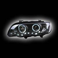 """Альтернативная оптика для BMW X5 '98-'03, фары, линза, """"ангельские глазки"""", с дневными ходовыми огнями, черные (тюнинг оптика, цена за комплект)"""