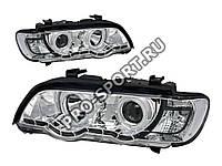 """Альтернативная оптика для BMW X5 '98-'03, фары, линза, """"ангельские глазки"""" CCFL, с дневными ходовыми огнями, хром (тюнинг оптика, цена за комплект)"""