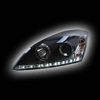 Альтернативная оптика для KIA CEED `07-`11 фары, линза, с дневными ходовыми огнями, черные, стиль AUDI A-8 NO (тюнинг оптика, цена за комплект)