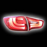 Альтернативная оптика для KIA SPORTAGE '10- фонари задние, «BMW  Series Style», прозрачнокрасные (тюнинг оптика, цена за комплект)