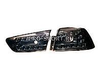 Альтернативная оптика для MITSUBISHI LANCER X T/L,фонари задние, Audi стиль Q5, светодиодные, тонированный хром (тюнинг оптика, цена за комплект)