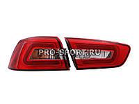 Альтернативная оптика для MITSUBISHI LANCER X T/L,фонари задние, Audi стиль , светодиодные, прозрачные/красные (тюнинг оптика, цена за комплект)