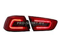 Альтернативная оптика для MITSUBISHI LANCER X T/L,фонари задние, Audi стиль , светодиодные, тонированные/красные (тюнинг оптика, цена за комплект)