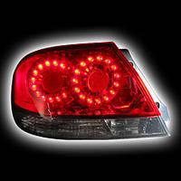 Альтернативная оптика для MITSUBISHI LANCER `03-`06, T/L, фонари задние, светодиодные, красные, тонированные, версия 2 (тюнинг оптика, цена за