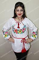 """Женская вышитая сорочка """"Мальвы"""" с длинным рукавом"""