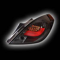 """Альтернативная оптика для OPEL CORSA D 3D `06- фонари задние, светодиодные, тонированные, светодиодная трубка, светодиодный поворотник, """"VERSION 2"""""""