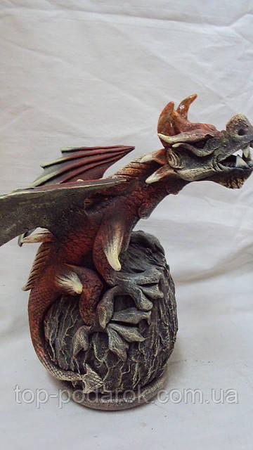 Подсвечник дракон на кокосе высота 20см, фото 1