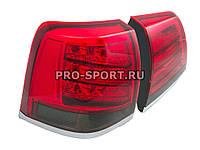 Альтернативная оптика для TOYOTA LAND CRUISER FJ200 `08-, фонари задние, светодиодные, дизайн Lexus Lx 570 2013, тонированные красные (тюнинг оптика,