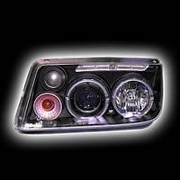 """Альтернативная оптика для VW BORA/JETTA 4 '99-04, фары, линза, """"ангельские глазки"""", черный (тюнинг оптика, цена за комплект)"""
