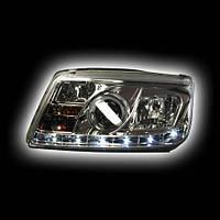 Альтернативная оптика для VW BORA `99-, фары, габарит-полоса, стиль А5, прожектор, с противотуманкой, хром JBR-PDHL (тюнинг оптика, цена за комплект)
