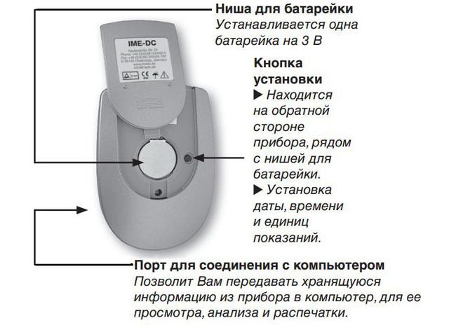 глюкометр ime dc ниша для батарейки и кнопки установки