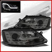 Альтернативная оптика для 11-14 VW JETTA SMOKED DRL-LED W/ LED LIGHT TUBE HALO PROJECTOR HEADLIGHTS SET (тюнинг оптика, цена за комплект)