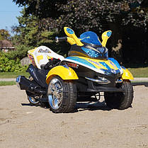 Детский Электромобиль трицикл Space 2222 желтый на радиоуправлении, фото 3