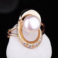 Женское золотое кольцо (культивированный пресноводный жемчуг,фианиты) украина