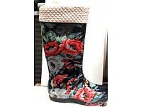 Женские резиновые сапоги высокие с утеплителем в цветы RS0014