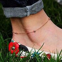 Золотой женский браслет на ногу