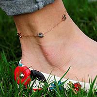 """Золотой женский браслет на ногу """"Бабочки"""""""