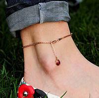 """Золотой женский браслет на ногу """"Божья коровка"""""""