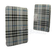 Чехол-обложка для Samsung p7500/p5100 Galaxy Tab 1/2 10.1 (в клеточку) Серый