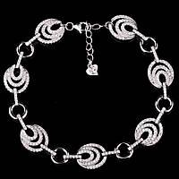 Серебряный женский браслет с фианитами (родий)