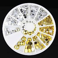 Украшения для ногтей,полушария серебро и золото стразы 800шт, фото 1