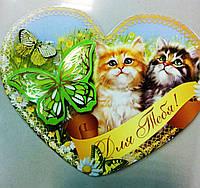 Открытка в виде сердца, открытка -Валентинка, объемная 10 см