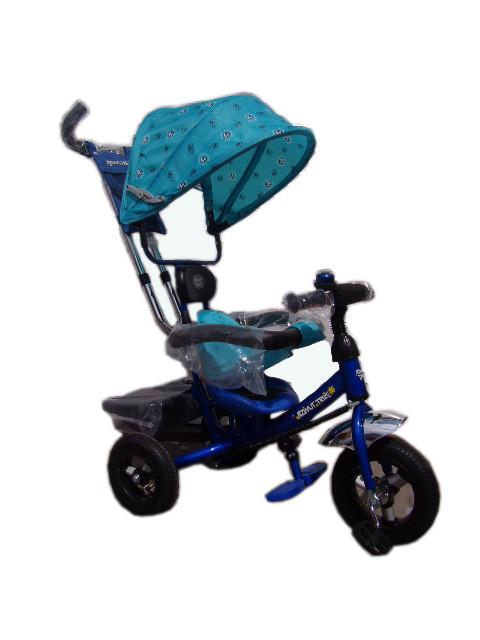 Детский трехколесный велосипед Azimut Trike полукупол голубой, надувные колеса