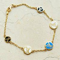 Золотой женский браслет с эмалью