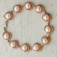 Золотой женский браслет с жемчугом