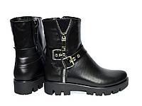 Ботинки кожаные женские демисезонные на тракторной подошве, фото 1