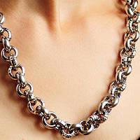 Серебряное женское колье без камней