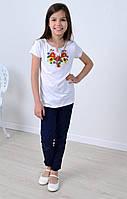 Детская вышитая футболка с  с яркими подсолнухами