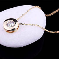 Золотое женское колье из желтого золота (фианит)
