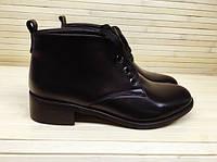 Весенние женские ботинки из натуральной кожи черные.