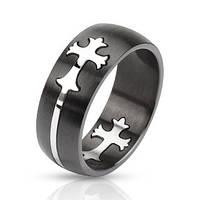 Кольцо с крестиком нержавеющая сталь 316L Spikes (США)