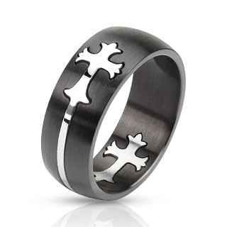 Кольцо с крестиком нержавеющая сталь 316L Spikes (США) 20.75
