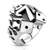 Кольцо горящая счастливая семерка нержавеющая сталь 316L Spikes (США)