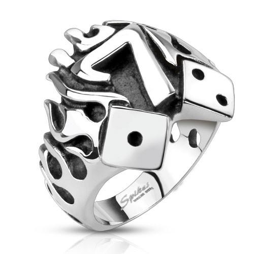 Кольцо горящая счастливая семерка нержавеющая сталь 316L Spikes (США) 20